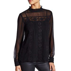 WALTER BAKER embroidered sheer lola blouse small